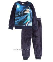 Комплекты, пижамы велюр, флис, хлопок на девочек H&M рост 86-128