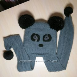 Шапка панда с шарфом