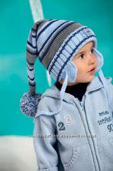 Raster Голубая и бирюза Две красивые шапочки-буратинки на 3-10 лет 30 шерст