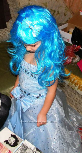 Красивенное нарядное платье, Мальвина, парик, голубой