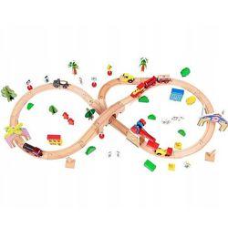 Деревянная железная дорога на батарейках EcoToys HM008999 78 элементов