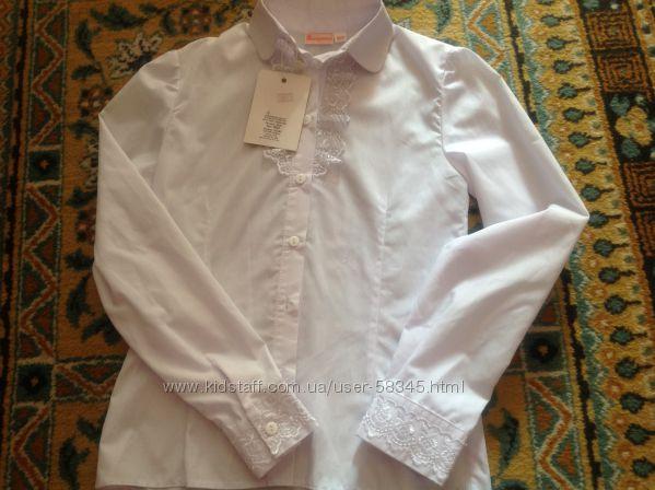 Блуза школьная ТМ Зиронька, р. 152, новая. С кружевом