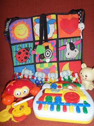 Fisher Price прыгун, телефон, Tiny Love блок для мобиля, Lamaze коврик