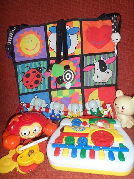 Fisher Price прыгун, телефон, Tiny Love блок для мобиля, Lamaze коврик