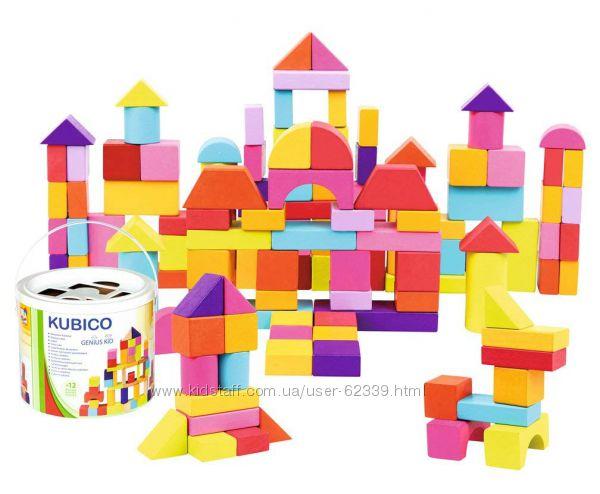 Деревянные кубики в ведре Bino, 100 шт