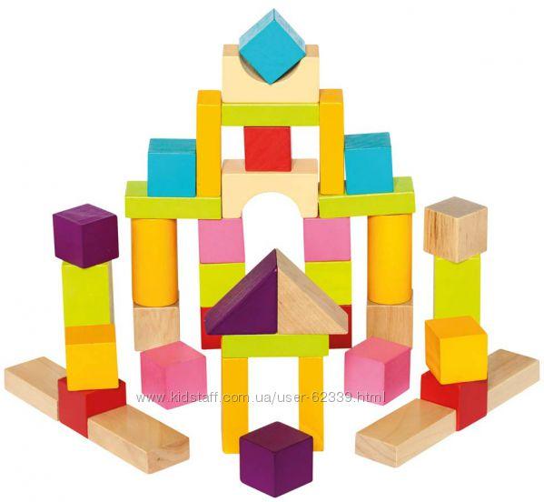 Деревянные кубики в ведре Bino, 50 шт