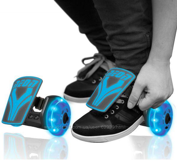 Ролики на обувь Neon Street Rollers, голубые светящиеся