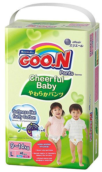 Трусики-подгузники Cheerful Baby Goo. N - размер L 8-14 кг, 48 штук