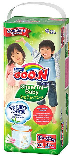 Трусики-подгузники Cheerful Baby Goo. N - размер XXL, 15-25 кг - 34 штуки