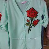 Мятные блузы -туники р. 146, 152, 158, 164