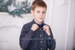 COOI CLUB, рубашка с бабочкой, 140 рост. Синяя в белый горох.