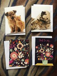 Красивые открытки с конвертом животные , цветы .
