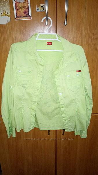 Зелена рубашка для дівчинки 140