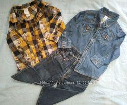 Джинсы h&m и две рубашки 80 см