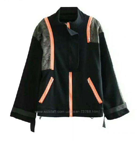 Бомбер-ветровка, трикотажный укороченный пиджак-кардиган оверсайз