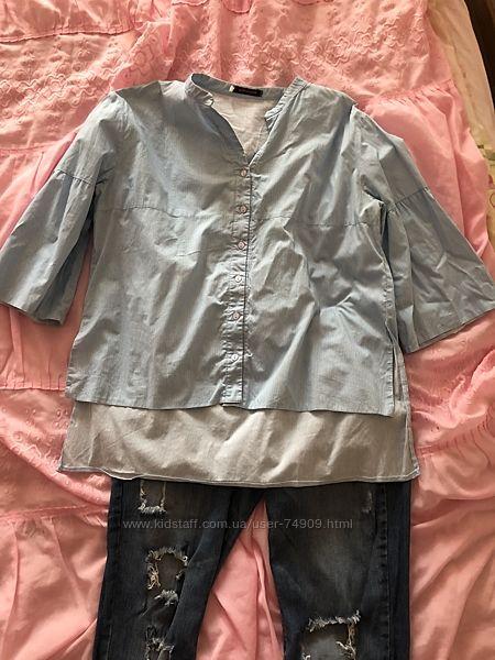 Комплект джинсы и рубашка для беременных