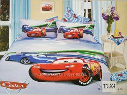Детское полуторное постельное белье ELWAY сатин 3D lux Польша тачки винкс