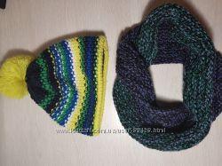 Теплый комплект шапка на флисе и снуд 6-8 лет