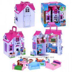Домик раскладной с мебелью и с семьей, кукольный домик