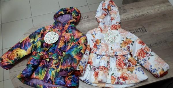Распродажа Демисезонные утепленные курточки для девочек. Размер 86 и 104