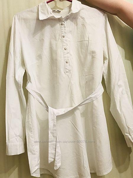 Белая рубашка, блузка,  в офис, на работу, размер 48-50 , беременным,