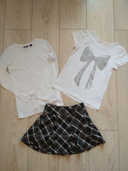 Юбка, футболка и реглан на 7-8 лет