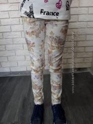 Модные котоновые брюки на девочку, р. 122, 128, 134, 140