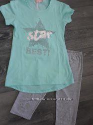 Костюм на девочку, лосины с футболкой, на рост 122-128. 134-140