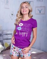 Женская пижама, футболка с шортами. Домашний комплект.
