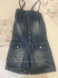 Комбинезон летний джинсовый для девочки, рост 104, Чико