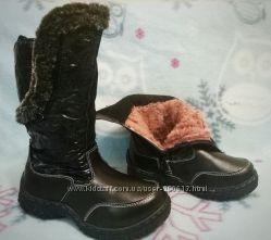 Зимние кожаные сапоги дутики на цигейке. Размер 27, 28, 29