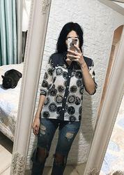 Шифоновая полупрозрачная блуза с часиками