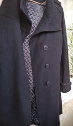 Черное пальто шерсть прямое дешево