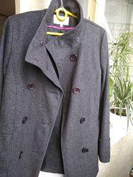Серое шерстяное пальто дешево шерсть
