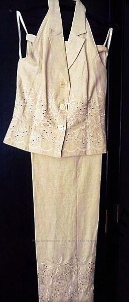 Летний брючный костюм лен с открытой спиной, 42. Распродажа