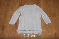Теплый свитер с модной вязкой 9-12 мес
