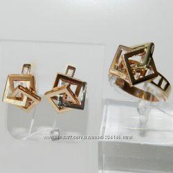 Гарнитур Золотое кольцо и серьги Золото 585 проба