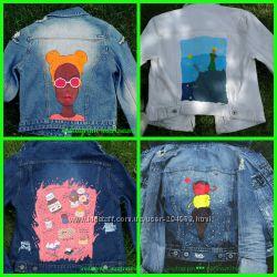 джинсовые пиджаки с росписью