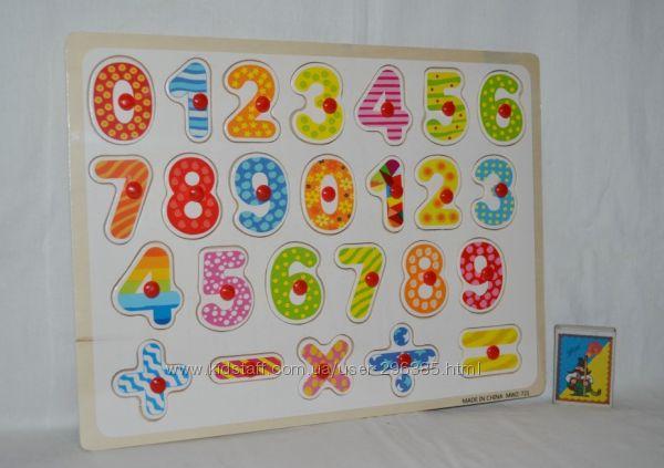 Деревянная игрушка Рамка-вкладыш с ручкой цифры разные