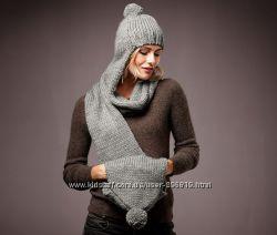 Стильная шапка с шарфом тсм, чибо - вместе 2 в 1, муфта, несколько шт.
