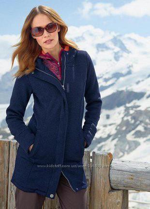 Женское, теплое вязанное пальто на флисе S M L размер разный, tchibo, чибо,
