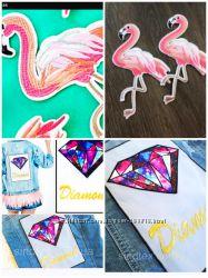 Термонаклейки фламинго, есть много в наличии