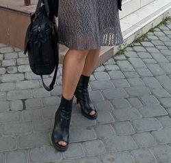 Ботильоны, туфли, ботинки, сапоги, открытый носок, кожа, тм & Other Storie