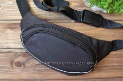 Черная сумка на пояс или через плечо