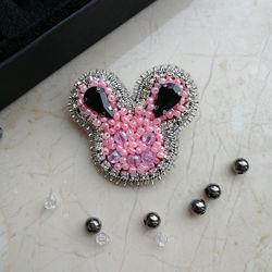 Брошка Розовая мышка подарок для девочки, ручная работа, в наличии, Киев