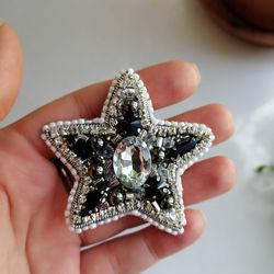 Брошка черная Звезда, ручная работа, в наличии, Киев