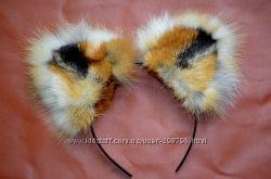 ушки лисы-натуральный мех-