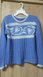 Пуловер из лентовидной пряжи, ручная работа, бу