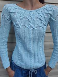 Пуловер их хлопка ручная работа