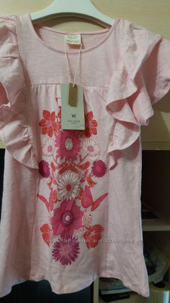 Новая розовая  футболка Zara для девочки , размер 8.